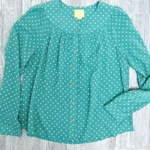 Anthro Maeve Green Cream Button Down Blouse S
